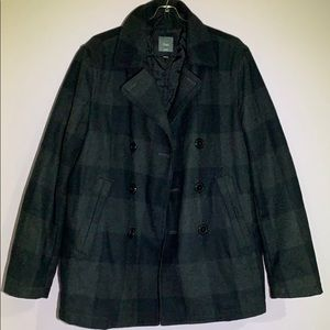 Gap Men pea coat black/gray checker
